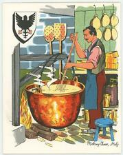 VINTAGE ITALY CHEF COOK FROMAGERIE CHEESE HERALDRY CANNELLONI RECIPE CARD PRINT