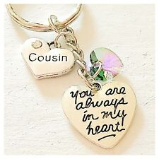 Cousin You Are Always In My Heart Keychain Gift Of Love Accessories Charm