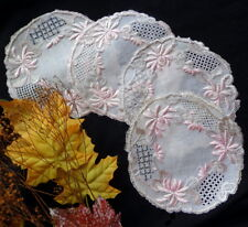 """SET of FOUR Dresden Style Silk Embroidered Pink & Cream Doilies - 6"""" Lovely"""