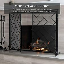 Modern Black Metal Fireplace Screen Grate Magnetic Doors Freestanding New