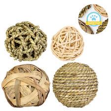 4x Pet Chew Toys Hamster Rabbit Guinea Pig Natural Grass Straw Woven Ball
