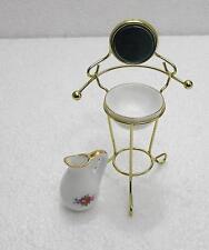 1:12  Doll House Miniature Metal Wash Basin Stand Furniture Pitcher Set