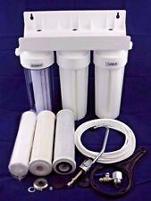 NEW 3 STAGE UNDER-SIN CERAMIC DRINKING WATER FILTER SYSTEM TAP KIT + ACCESSORIES
