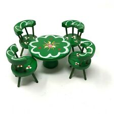 Vintage 60s/70s hand-painted doll house kitchen table and 4 chairs