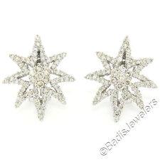 BRILLIANT 18k White Gold 3.35ctw Fine Diamond Star Burst Cluster Earrings