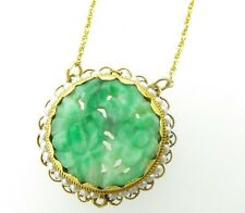 .1950's 14k Gold Carved Fruit & Flowers Jadeite and Natural Seed Pearl Necklet