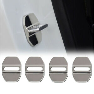 4PCS CAR DECORATIVE ACCESSORIES Stainless Steel AUTO DOOR LOCK PROTECTIVE COVER
