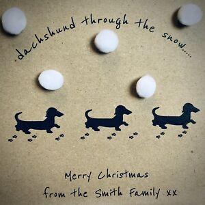 Personalised Handmade Dachshund Christmas Card Sausage Dog Kraft Card Dashund