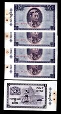 BURMA IN ASIA,5 PCES OF 1 KYAT 1965, WITH PIN HOLES,P-52,  UNC FROM BUNDLE