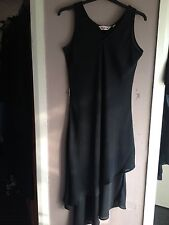 Kaleidoscope Black Double Layer Asymmetric Hem Chiffon Dress Size 12