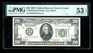 DBR 1928 $20 FRN St. Louis Numeral Fr. 2050-H PMG 53 EPQ Serial H02373243A