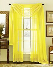 """Empire Home Solid Sheer Window Voile Scarf Valance 216"""" Long Scarves Neon yellow"""