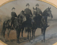 FATHER AND SONS ON HORSEBACK. OUTDOOR TINTYPE, FULL PLATE, FRAMED.