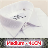 Mens White Luxury Marcella Formal Business Dress Shirt Promo Sale Size 41 Medium