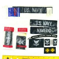 Assorted Lot of 10 USN Blue Silver Digital Tape Coverall Patches