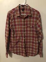 J CREW Mens Slim Fit Heathered Cotton Shirt Size L Red Flannel Plaid F4165