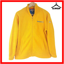 Reebok Womens Full Zip Yellow Fleece Jumper UK 12 Large Sweatshirt Vintage 90s