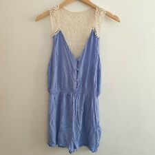 Topshop Women Size M Blue Cream Lace Playsuit Shorts Summer Beach Holiday Casual