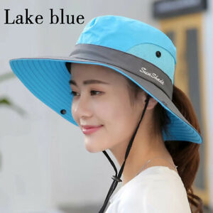 Women's Summer Bucket Sun Hats UV Protection Foldable Mesh Wide Brim Hot Cap