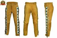 New Men's Western Cowboy Style suede leather pants with Fringes & Bead Work