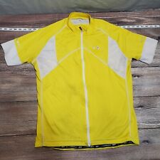 Louis Garneau Mens Size XL Solid Yellow Cycling Jersey Zip Pockets