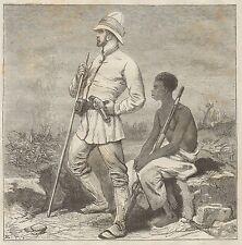 C1014 Stanley in Africa - Xilografia d'epoca - 1879 Vintage engraving
