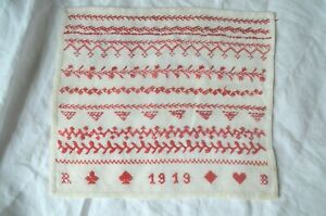 Antique French red stitched sampler dated 1919