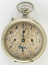 Triple Date & Moon Phase Pocket Watch Open Face J.H. HASSLER & FILS