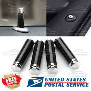 4x Carbon fiber Car Interior Door Locking Lock Knob Pull Pins Covers Accessories