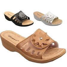 Ladies Womens Flip Flops Slip On Casual Low Wedge Summer Beach Sandals Mules