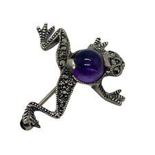"Vintage Sterling Silver marcasite purple gem Jelly Belly Frog Brooch Pin 1"""