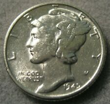 1945 D Mercury Dime Almost Uncirculated 90% Silver Coin AU / BU