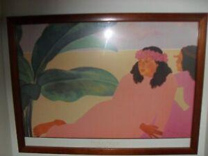 "Pegge Hopper ""Kailua Noon"" Signed Art-Work in Nice Wood Frame, Beautiful Piece.."