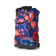 Lightweight 2 Wheeled Folding Shopping SHOPPER Cabin Travel Bag Trolley Ryanair Pretty Petals Blue