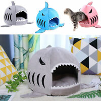 Pet Dog Cat Cute Shark Bed Round House Cosy Cat Puppy Sleeping Kennel Soft Mat