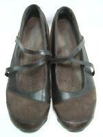 Skechers Womens Shoes Size 10 Mary Jane Strappy Brown Leather #B