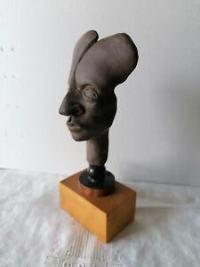 Ceramic Original Male Head Bust Relief Cameo Modern Art Studio Sculpture