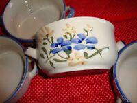 Lot (4) Chi- Jiang China Handled Soup Bowl Blue~Brown~Green Floral Pattern   332