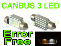 INTERIOR BULBS  NSN2 2x 37mm CANBUS WHITE LIGHT 3 LED LICENCE NUMBER PLATE