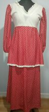 Vintage Red White Spots Dress Ruffles Tiered Prairie Minnie Mouse Festival UK 12