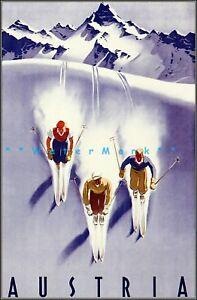 Ski Austria 1950 3 Skiers Vintage Poster Print Retro Winter Snow Sports Travel