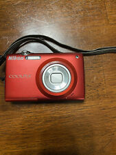 Working Nikon Coolpix S205 12.0Mp Digital Camera Red with Battery And Usb Cable