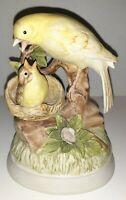 Vintage Gorham Bird Figurine Music Box Mother Feeding Baby Bird, Yellow