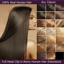 100% Real Clip In On Remy Human Hair Extensions Full Head Straight US Stock E633