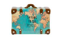 Sass & Belle Vintage Map Money Box Travel Suitcase Piggy Bank Holiday Saving