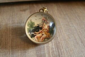 Antike Kugeluhr Handaufzug Erotik Tischuhr Glas Briefbeschwerer - 385 Gramm