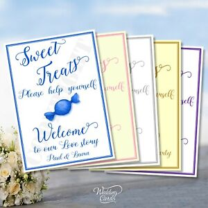 Christening Sweet Treats Sign Card Post Box Gender Reveal Baby Birthday Party A4