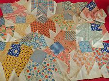Vintage Feedsack Flour Sack Print Dress Fabric Sawtooth Star Quilt Square Blocks
