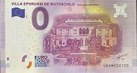 BILLET 0  EURO  VILLA EPHRUSSI DE ROTHSCHILD FRANCE  2016 NUMERO 100