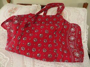 Vera Bradley Gently Used RED BANDANA Retired XL Duffle Bag BIG! in EUC